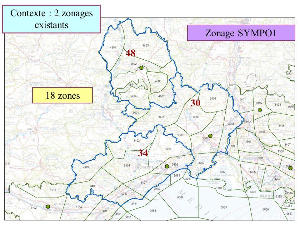 Zonage SYMPO1 30 48 34 18 zones Contexte : 2 zonages existants