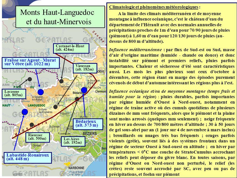 Climatologie et phénomènes météorologiques : A la limite des climats méditerranéen et de moyenne montagne à influence océanique, c'est le château d'ea