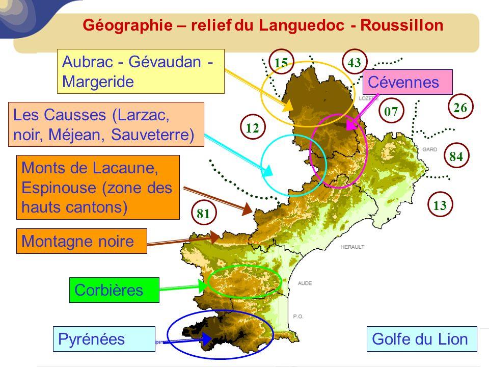 Géographie – relief du Languedoc - Roussillon Monts de Lacaune, Espinouse (zone des hauts cantons) Cévennes Corbières Pyrénées Montagne noire Aubrac -