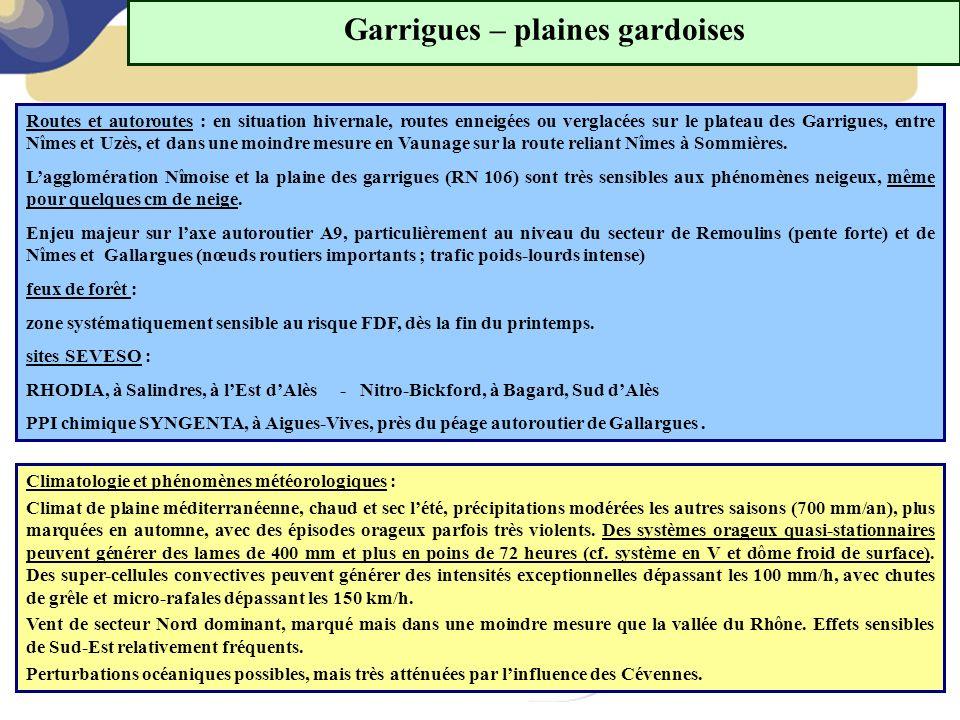 Garrigues – plaines gardoises Routes et autoroutes : en situation hivernale, routes enneigées ou verglacées sur le plateau des Garrigues, entre Nîmes