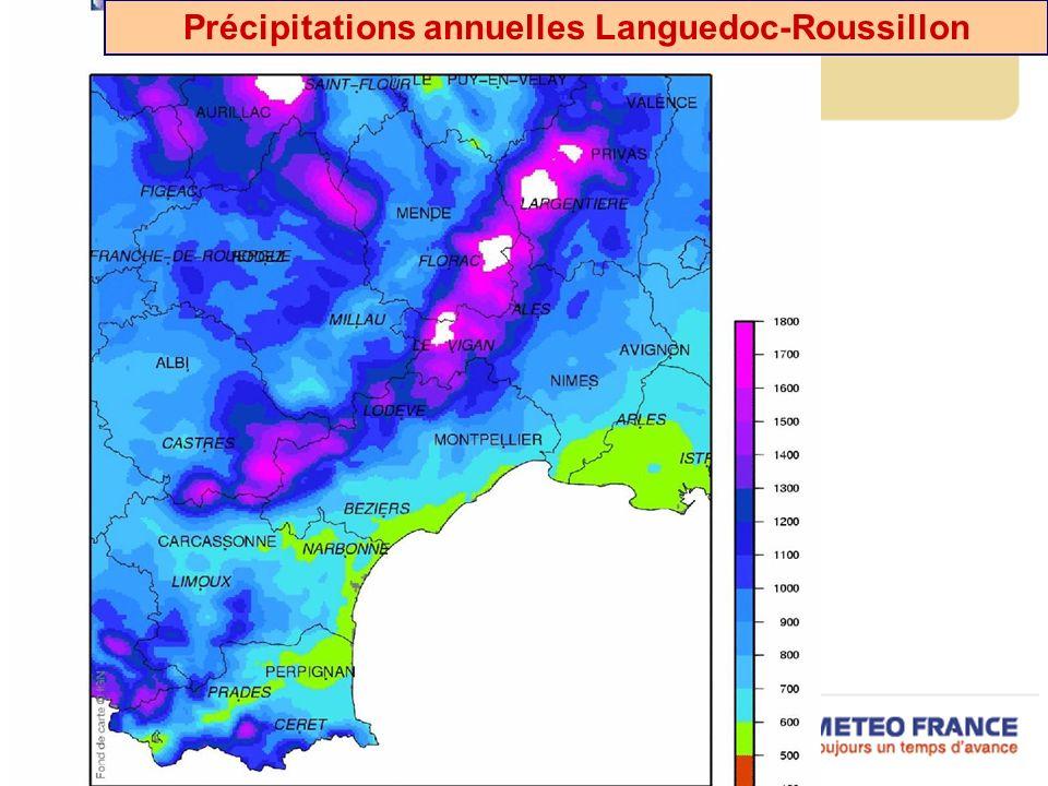 Précipitations annuelles Languedoc-Roussillon