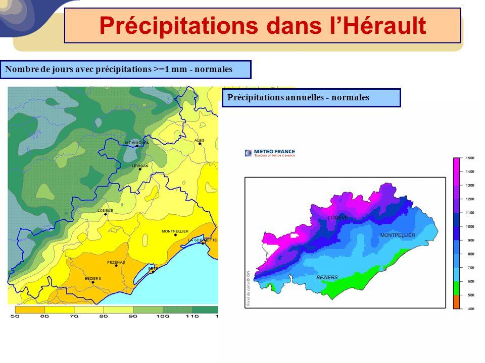 Précipitations dans l'Hérault Précipitations annuelles - normales Nombre de jours avec précipitations >=1 mm - normales
