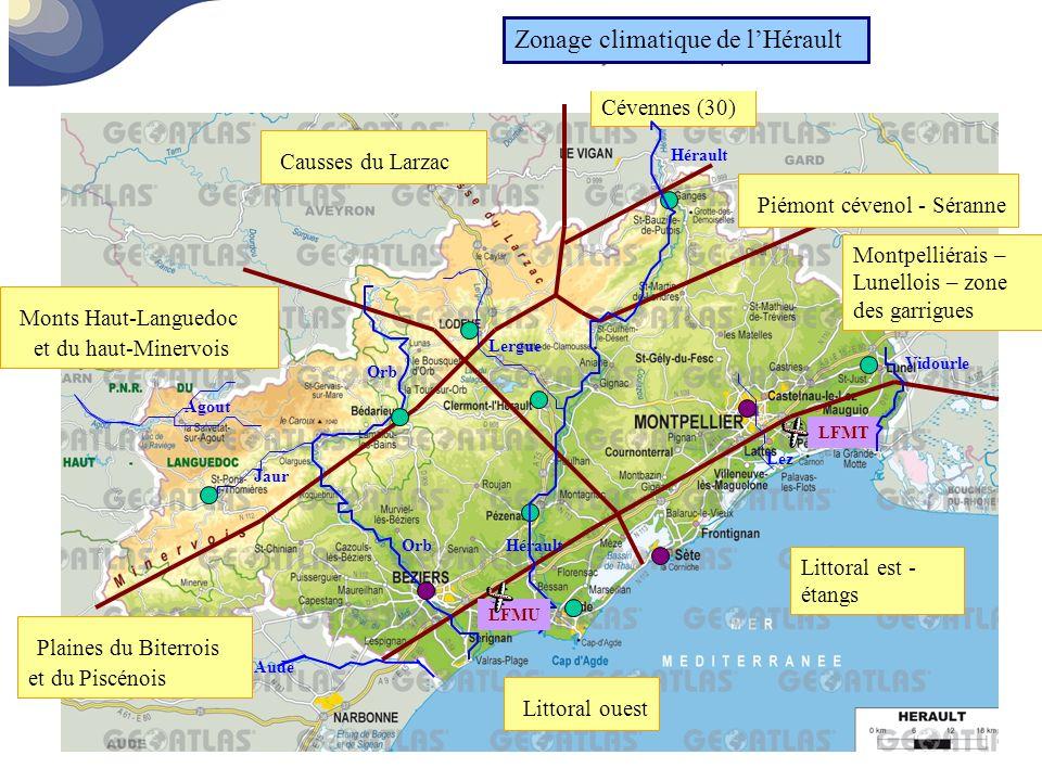 Monts Haut-Languedoc et du haut-Minervois Causses du Larzac Piémont cévenol - Séranne Plaines du Biterrois et du Piscénois Littoral ouest Littoral est