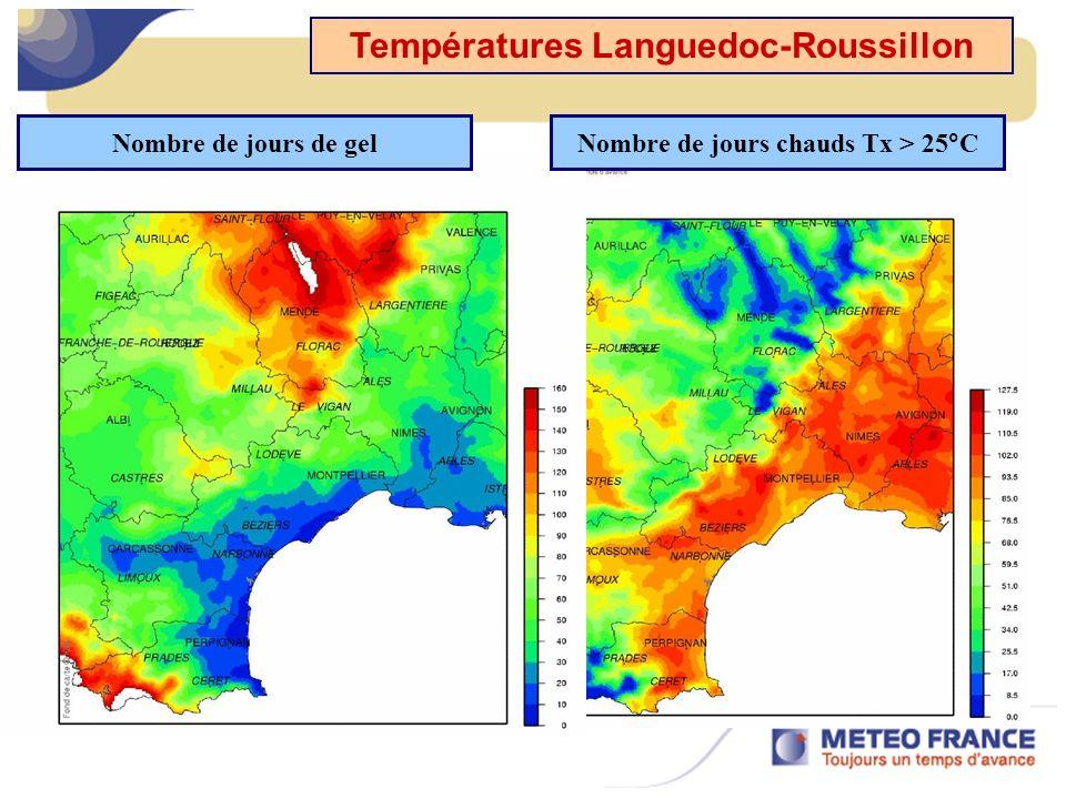 Températures Languedoc-Roussillon Nombre de jours de gelNombre de jours chauds Tx > 25°C