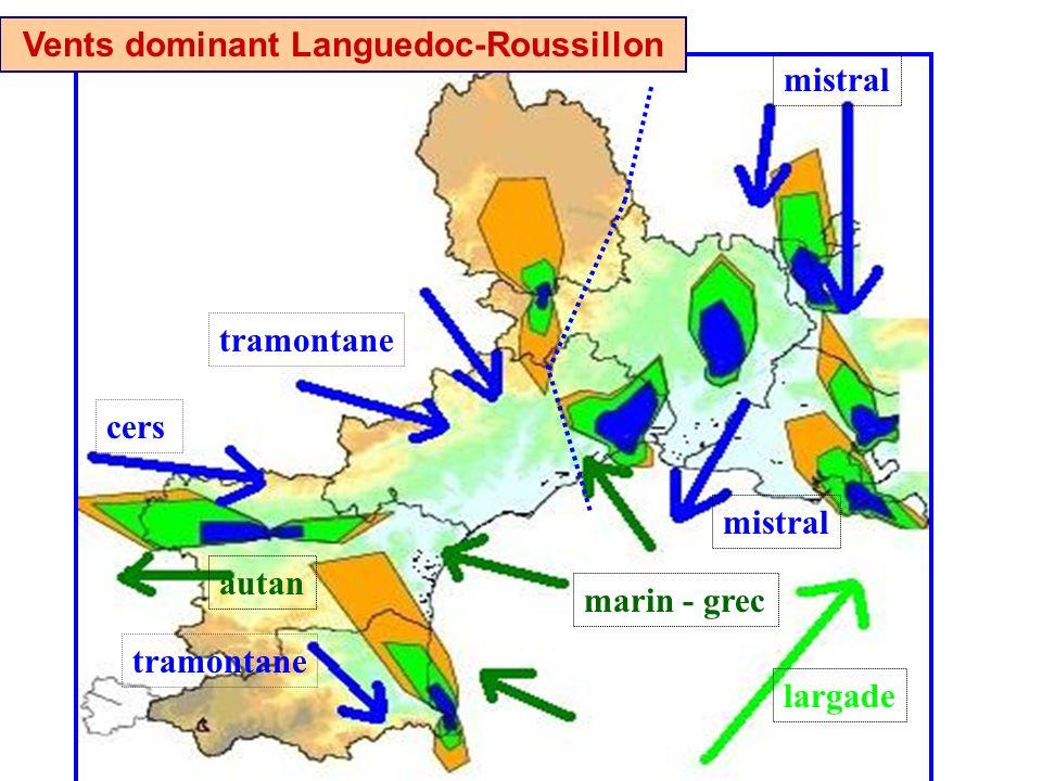 cers tramontane mistral largade marin - grec autan Vents dominant Languedoc-Roussillon