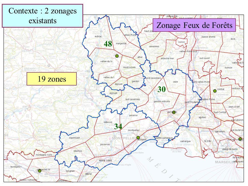 Zonage Feux de Forêts 34 48 30 19 zones Contexte : 2 zonages existants