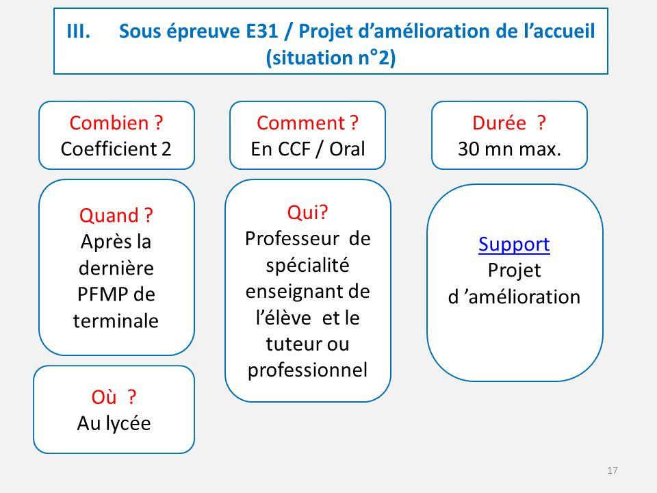17 III. Sous épreuve E31 / Projet d'amélioration de l'accueil (situation n°2) Combien .