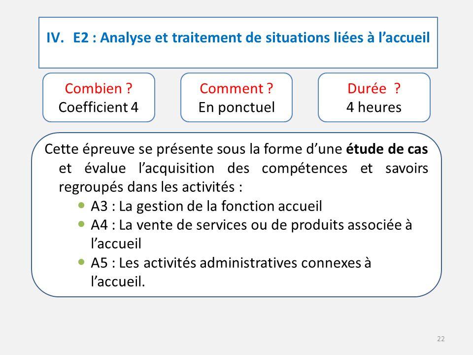 22 IV.E2 : Analyse et traitement de situations liées à l'accueil Combien .