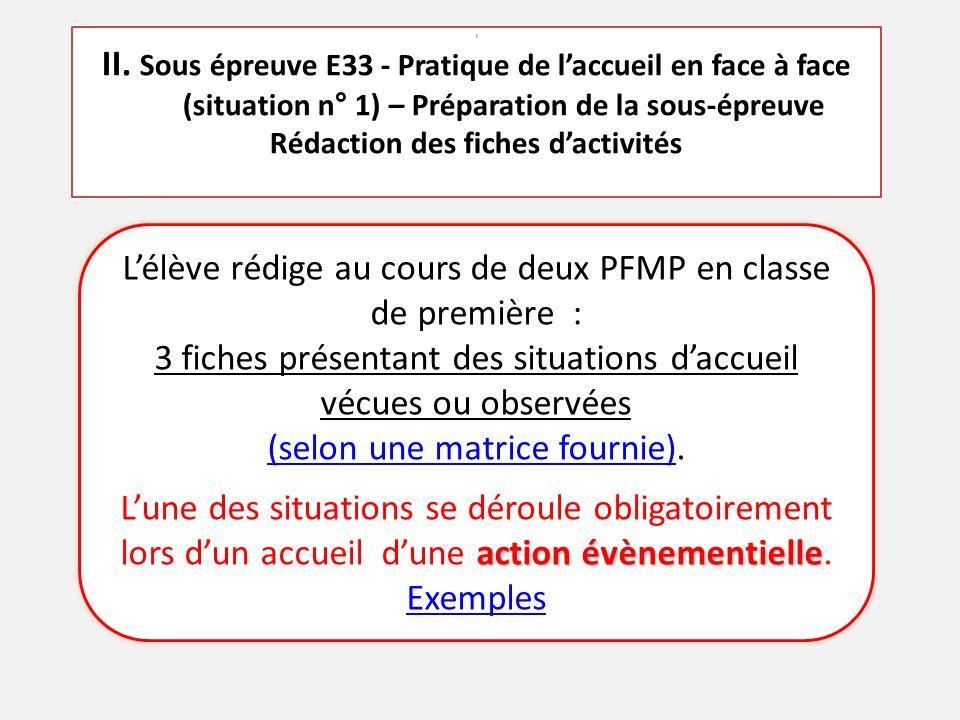 L'élève rédige au cours de deux PFMP en classe de première : 3 fiches présentant des situations d'accueil vécues ou observées (selon une matrice fournie)(selon une matrice fournie).