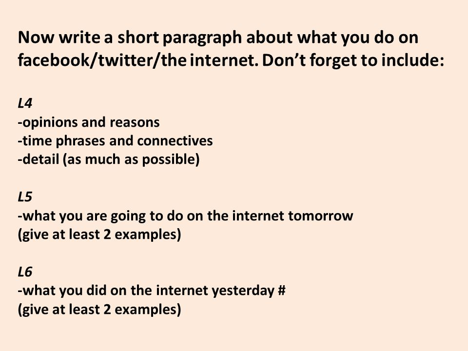 Now write a short paragraph about what you do on facebook/twitter/the internet.