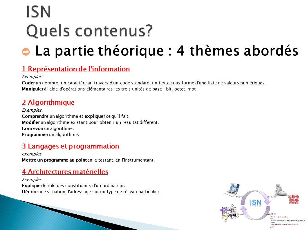 ➲ La partie théorique : 4 thèmes abordés 1 Représentation de l information Exemples : Coder un nombre, un caractère au travers d un code standard, un texte sous forme d une liste de valeurs numériques.