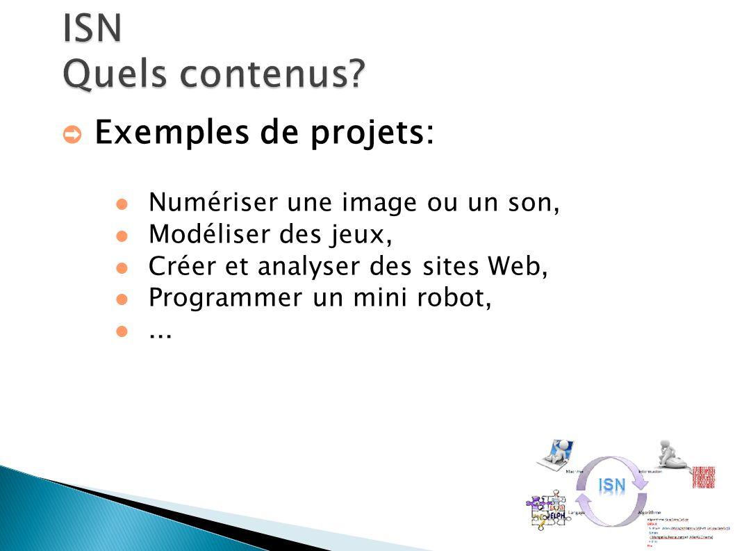 ➲ Exemples de projets: Numériser une image ou un son, Modéliser des jeux, Créer et analyser des sites Web, Programmer un mini robot,...
