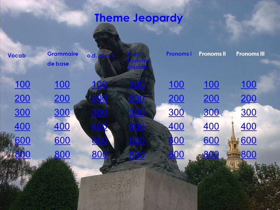 100 200 300 400 600 800 Vocab Grammaire de base 100 200 300 400 600 800 o.d.