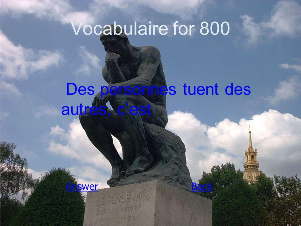 Vocabulaire for 800 Des personnes tuent des autres, c'est AnswerBack