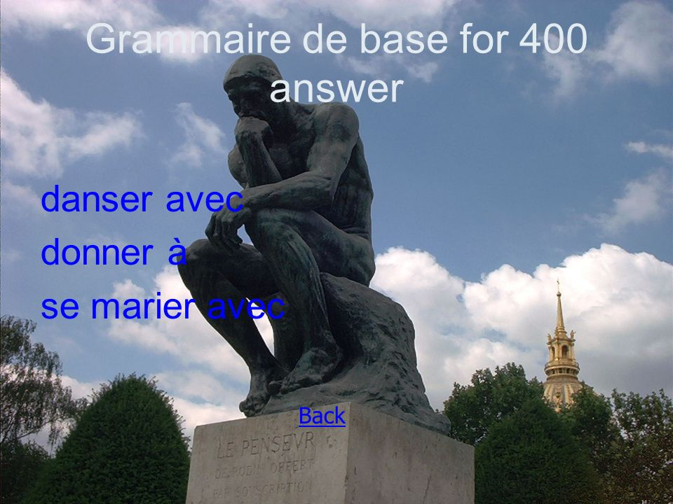 Grammaire de base for 400 answer danser avec donner à se marier avec Back