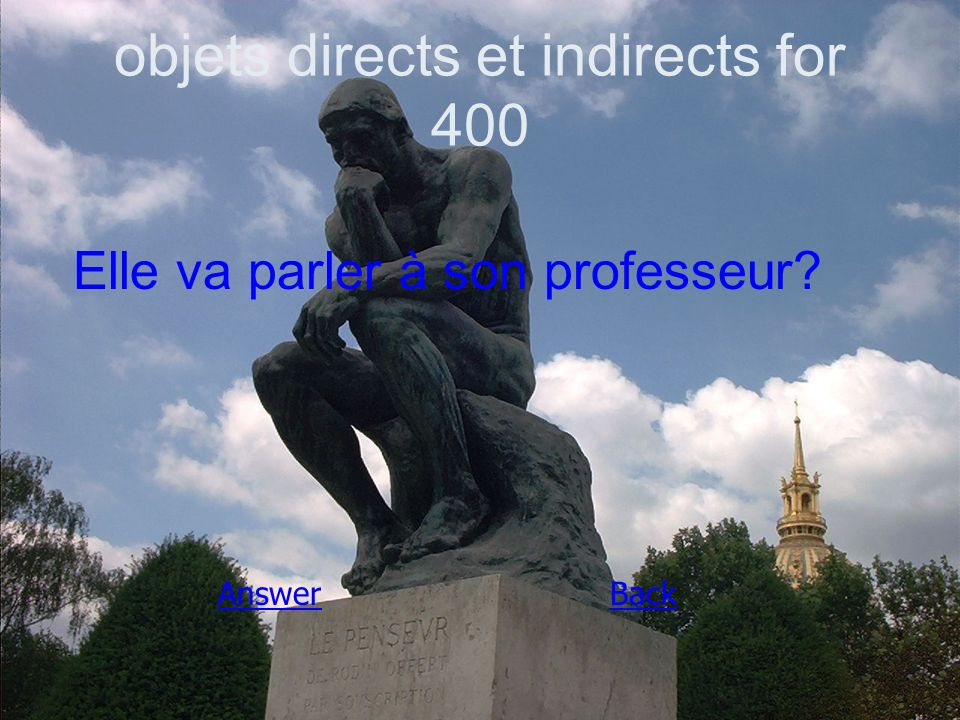 objets directs et indirects for 400 Elle va parler à son professeur AnswerBack