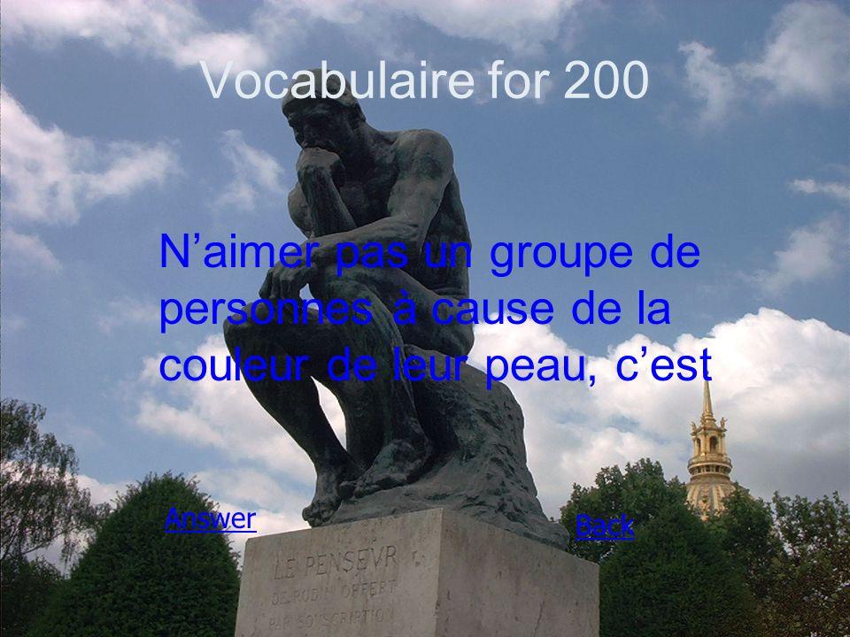 Vocabulaire for 200 N'aimer pas un groupe de personnes à cause de la couleur de leur peau, c'est Answer Back