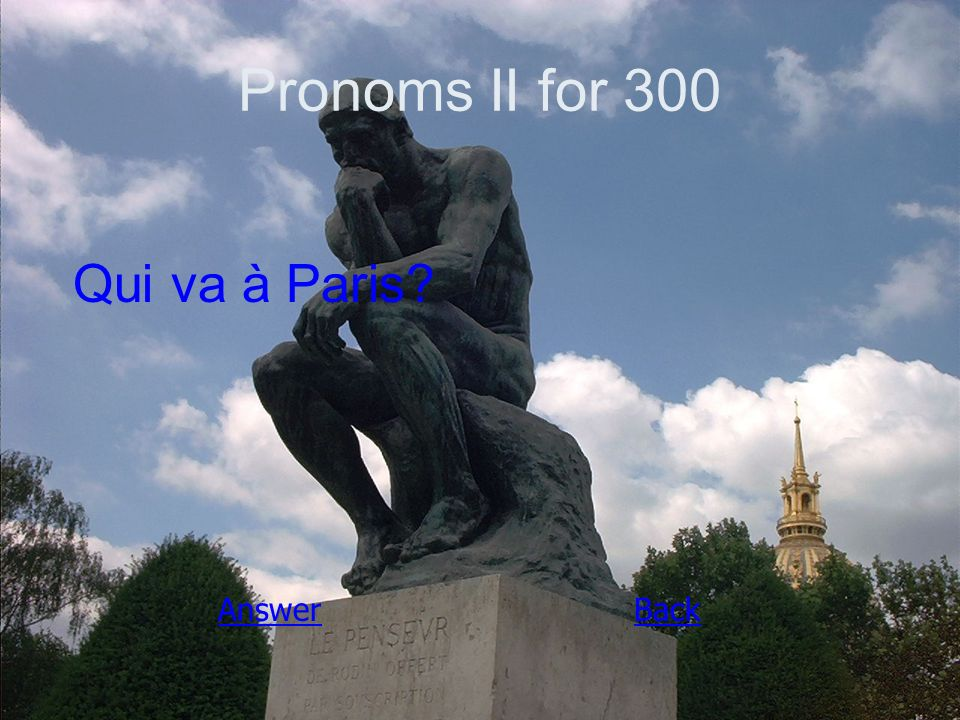 Pronoms II for 300 Qui va à Paris AnswerBack
