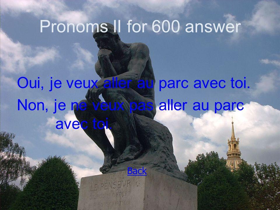 Pronoms II for 600 answer Oui, je veux aller au parc avec toi.