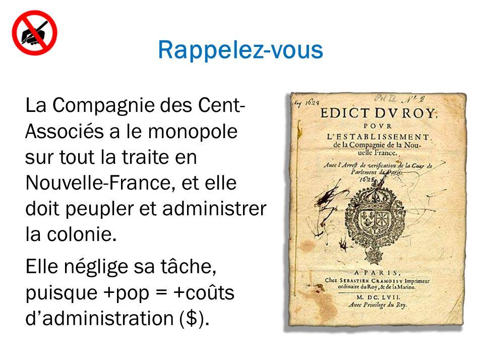 Rappelez-vous La Compagnie des Cent- Associés a le monopole sur tout la traite en Nouvelle-France, et elle doit peupler et administrer la colonie.