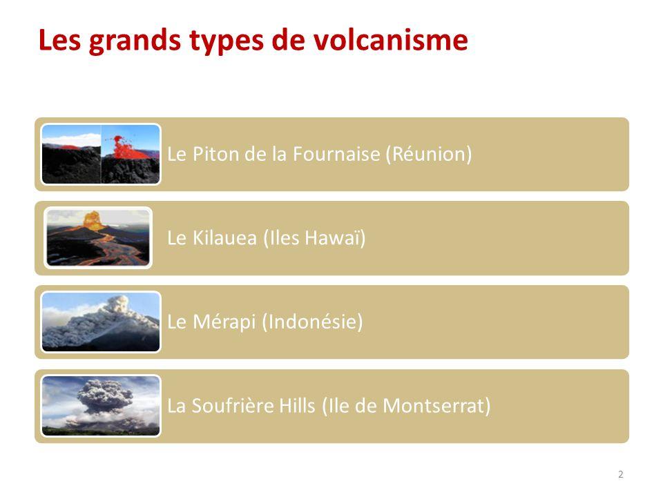 Le Piton de la Fournaise (Réunion) Le Kilauea (Iles Hawaï) Le Mérapi (Indonésie) La Soufrière Hills (Ile de Montserrat) Les grands types de volcanisme 2