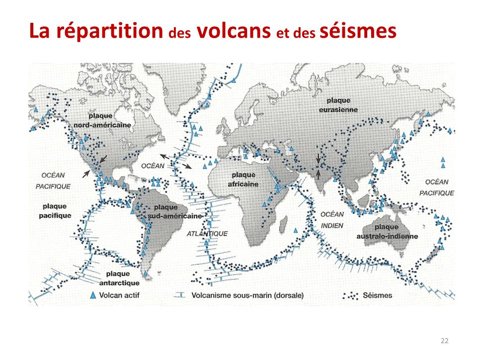 La répartition des volcans et des séismes 22