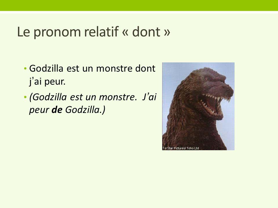 Le pronom relatif « dont » Godzilla est un monstre dont j'ai peur.