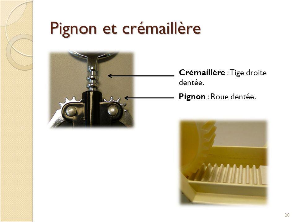Pignon et crémaillère 20 Crémaillère : Tige droite dentée. Pignon : Roue dentée.