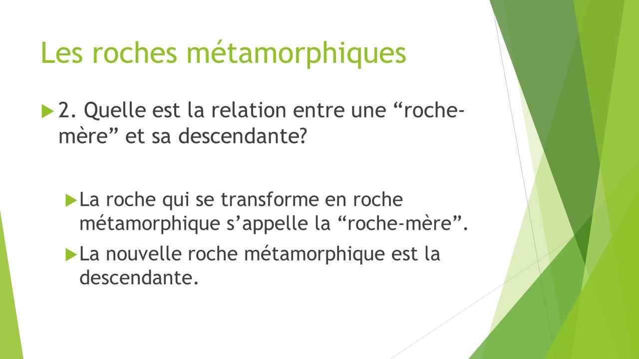 """Les roches métamorphiques  2. Quelle est la relation entre une """"roche- mère"""" et sa descendante?  La roche qui se transforme en roche métamorphique s"""
