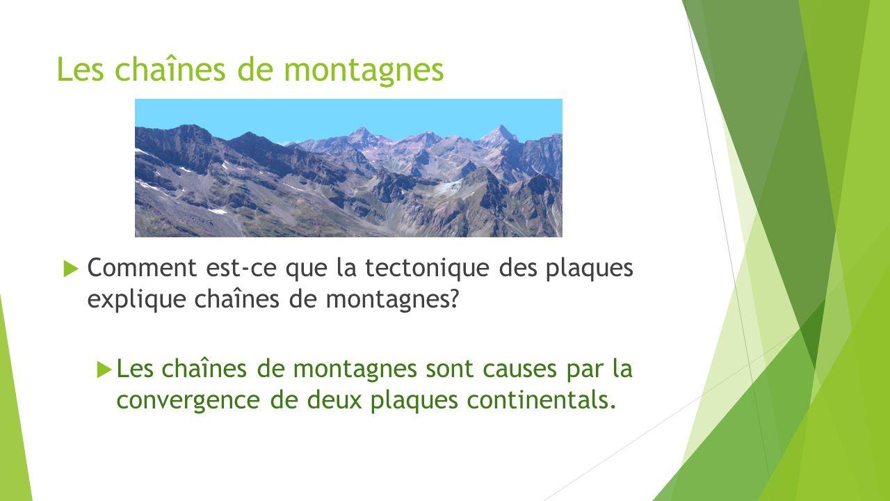 Les chaînes de montagnes  Comment est-ce que la tectonique des plaques explique chaînes de montagnes?  Les chaînes de montagnes sont causes par la c