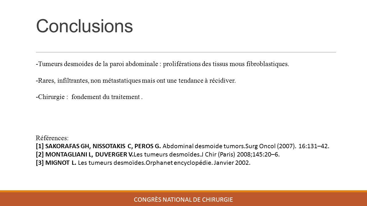 Conclusions CONGRÈS NATIONAL DE CHIRURGIE -Tumeurs desmoides de la paroi abdominale : proliférations des tissus mous fibroblastiques. -Rares, infiltra