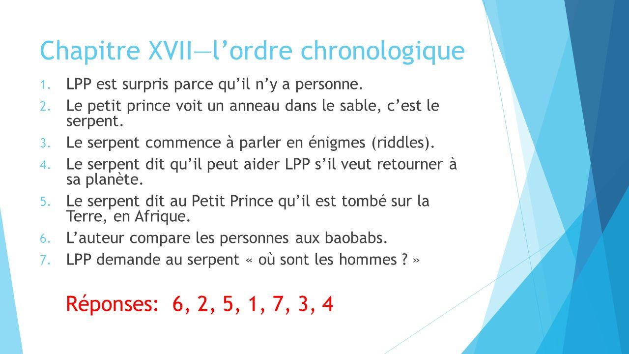 Chapitre XVII—l'ordre chronologique 1. LPP est surpris parce qu'il n'y a personne.