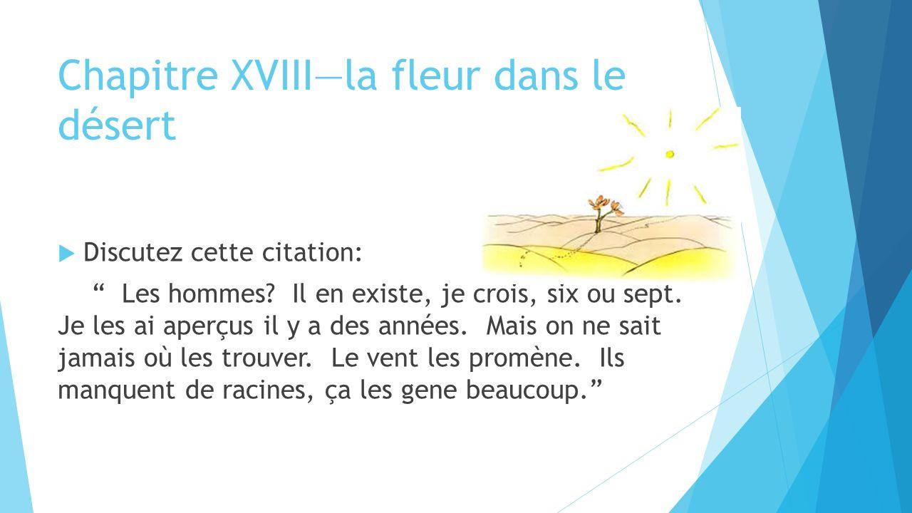 Chapitre XVIII—la fleur dans le désert  Discutez cette citation: Les hommes.