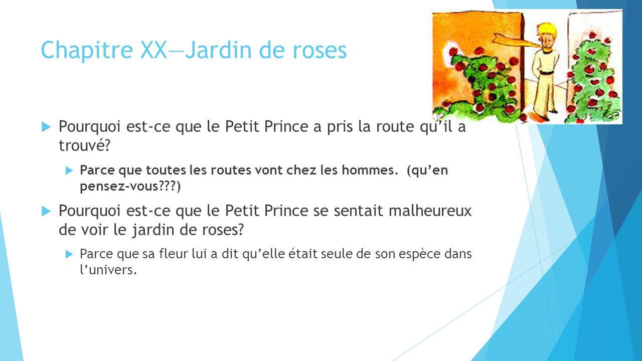 Chapitre XX—Jardin de roses  Pourquoi est-ce que le Petit Prince a pris la route qu'il a trouvé.