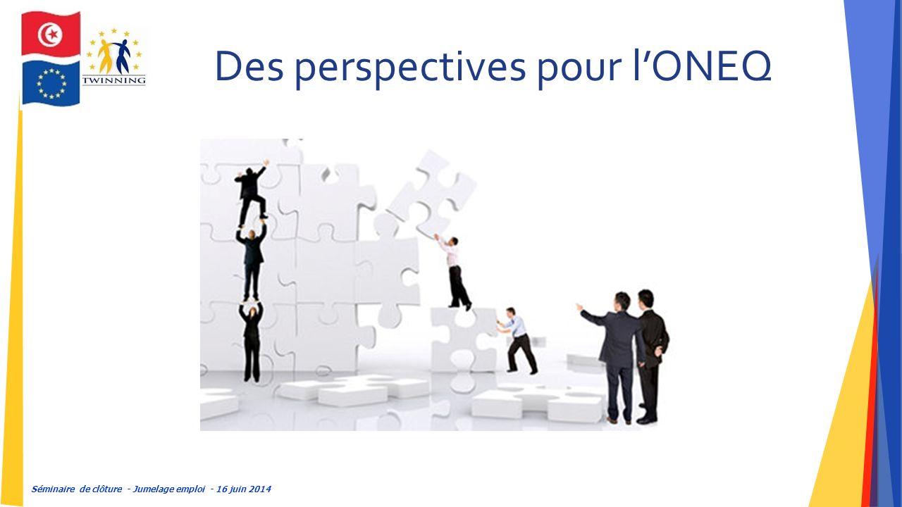 Séminaire de clôture - Jumelage emploi - 16 juin 2014 Des perspectives pour l'ONEQ