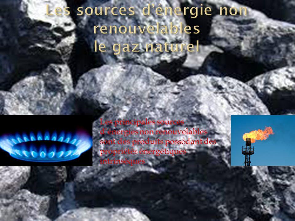Les principales sources d'énergies non renouvelables sont des produits possédant des propriétés énergétiques intrinsèques