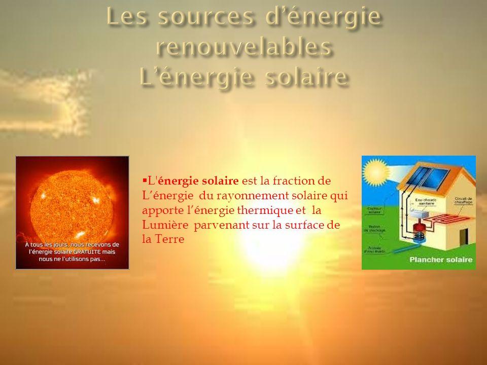 L énergie solaire est la fraction de L'énergie du rayonnement solaire qui apporte l'énergie thermique et la Lumière parvenant sur la surface de la Terre