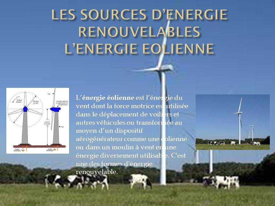 L' énergie éolienne est l'énergie du vent dont la force motrice est utilisée dans le déplacement de voiliers et autres véhicules ou transformée au moyen d'un dispositif aérogénérateur comme une éolienne ou dans un moulin à vent en une énergie diversement utilisable.