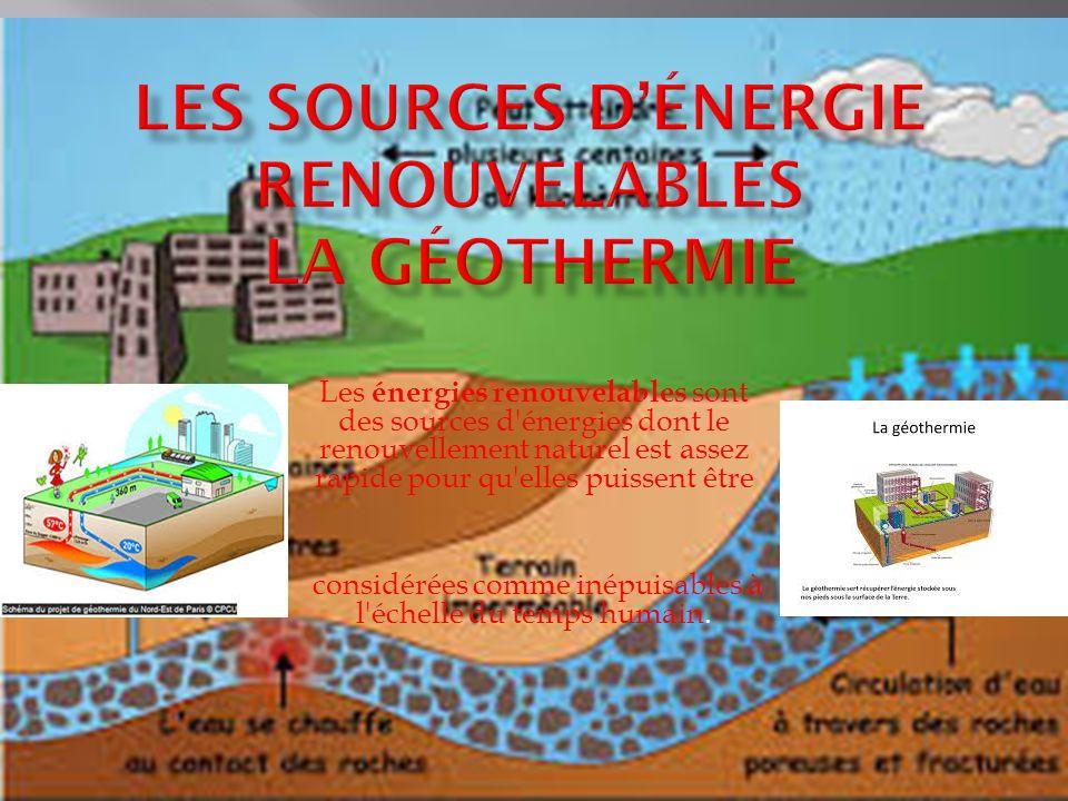 Les énergies renouvelables sont des sources d énergies dont le renouvellement naturel est assez rapide pour qu elles puissent être considérées comme inépuisables à l échelle du temps humain.