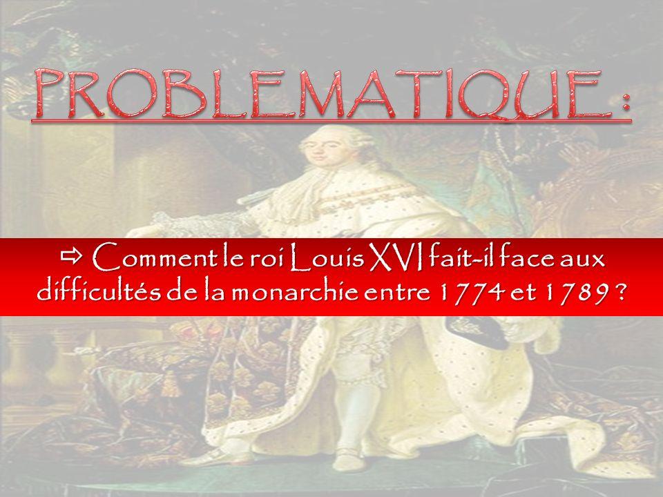  Comment le roi Louis XVI fait-il face aux difficultés de la monarchie entre 1774 et 1789