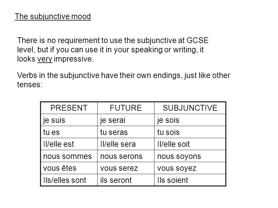 The subjunctive mood There is no requirement to use the subjunctive at GCSE level, but if you can use it in your speaking or writing, it looks very impressive.