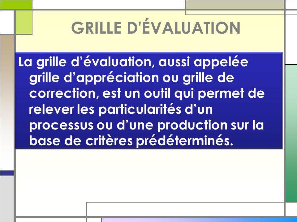 GRILLE D ÉVALUATION La grille d'évaluation, aussi appelée grille d'appréciation ou grille de correction, est un outil qui permet de relever les particularités d'un processus ou d'une production sur la base de critères prédéterminés.