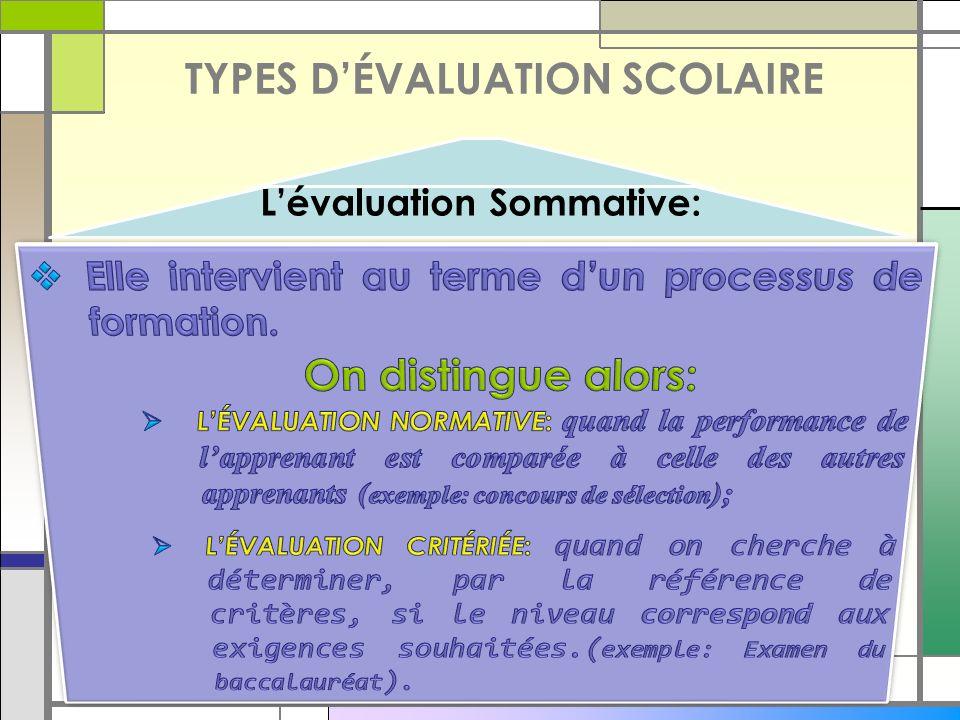 TYPES D'ÉVALUATION SCOLAIRE L'évaluation Sommative: