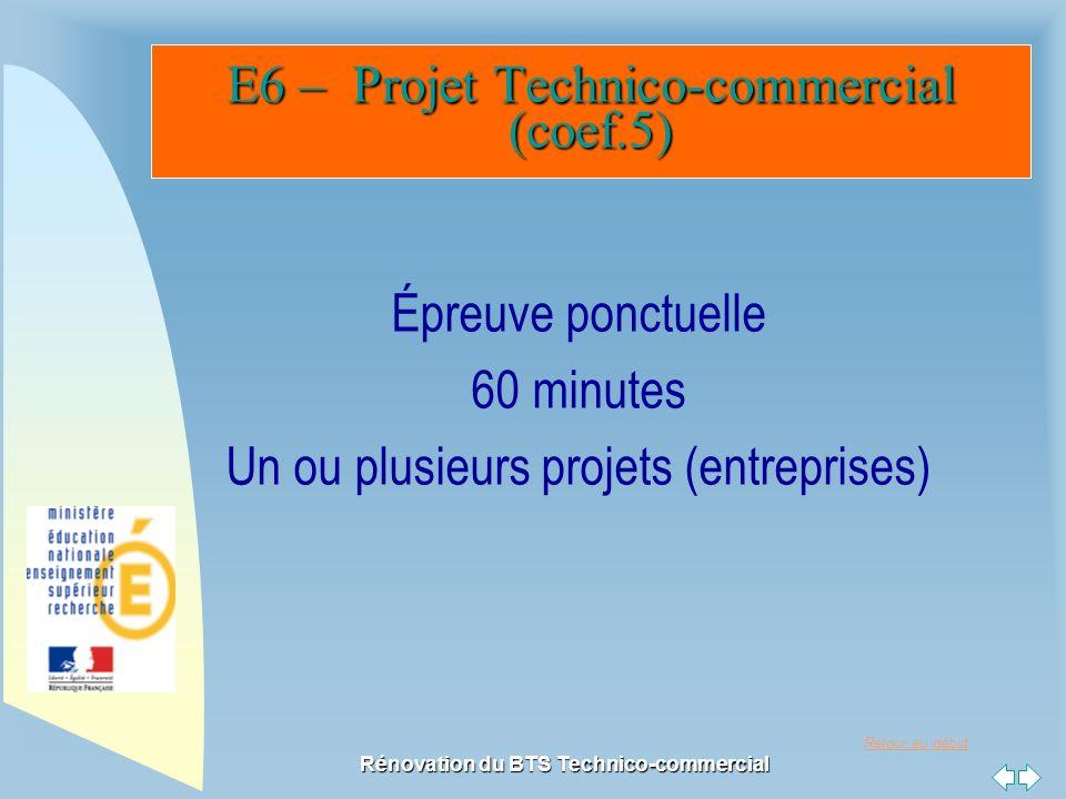 Retour au début Rénovation du BTS Technico-commercial E6 – ProjetTechnico-commercial (coef.5) E6 – Projet Technico-commercial (coef.5) Épreuve ponctuelle 60 minutes Un ou plusieurs projets (entreprises)
