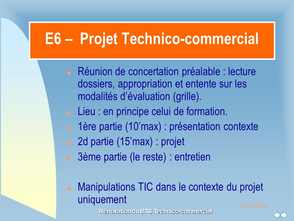 Retour au début Rénovation du BTS Technico-commercial E6 – Projet Technico-commercial n Réunion de concertation préalable : lecture dossiers, appropriation et entente sur les modalités d'évaluation (grille).