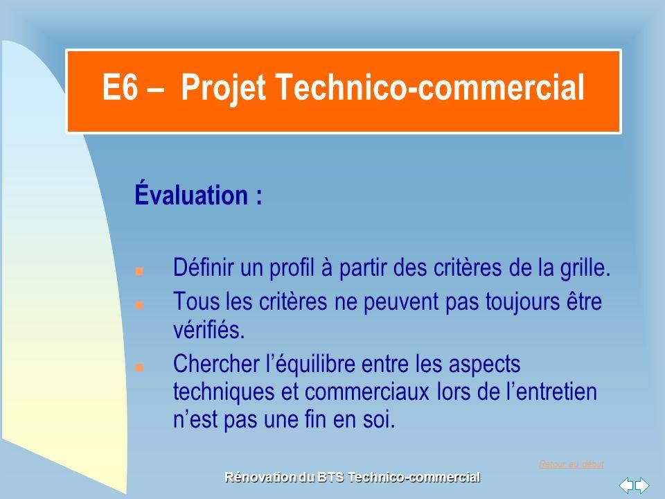 Retour au début Rénovation du BTS Technico-commercial E6 – Projet Technico-commercial Évaluation : n Définir un profil à partir des critères de la grille.