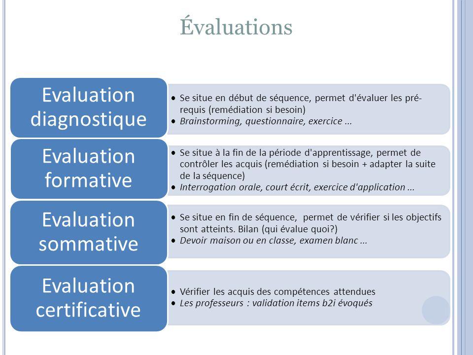 Évaluations  Se situe en début de séquence, permet d évaluer les pré- requis (remédiation si besoin)  Brainstorming, questionnaire, exercice...