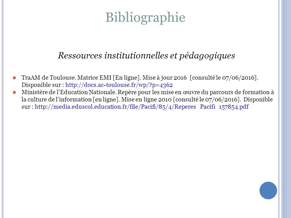 Ressources institutionnelles et pédagogiques TraAM de Toulouse.