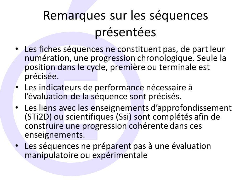 Remarques sur les séquences présentées Les fiches séquences ne constituent pas, de part leur numération, une progression chronologique.