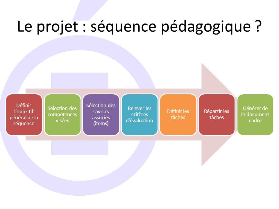 Le projet : séquence pédagogique .